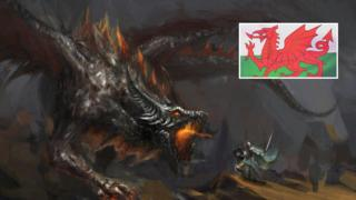 A dragon fighting a night with the Welsh flag (inset)