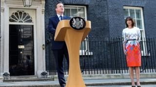 David Cameron saying he would step down as prime minister