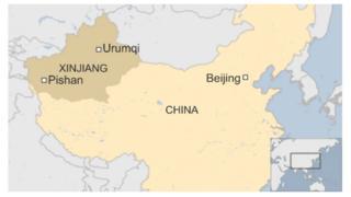 Map of Xinjiang and China