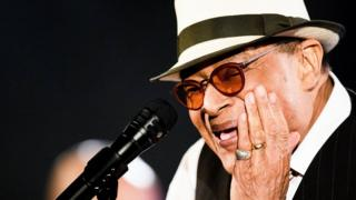 A file picture dated 03 July 2016 shows US jazz singer Al Jarreau performs on stage of Montreux Jazz Club