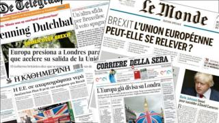 European press front pages on 26 June.