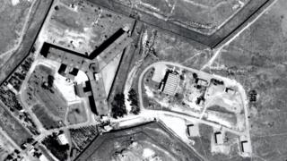 Undated aerial photograph of Saydnaya prison, north of Damascus, Syria