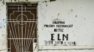 A graffiti of the ELN (National Liberation Army of Colombia) guerrillas is seen on a wall in El Palo, department of Cauca, Colombia, on March 15, 2016.
