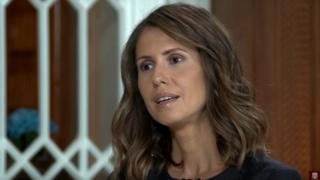 Asma al-Assad is interviewed by Russian television