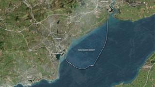 Tidal lagoon map for Cardiff