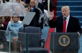 President Donald Trump delivers his inaugural address on the West Front of the U.S. Capitol on January 20, 2017.