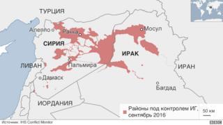 Согласно докладу организации IHS Conflict Monitoring по состоянию на сентябрь 2016 года ИГИЛ потеряла контроль над четвертью территорий, которые контролировала по состоянию на январь 2015 года