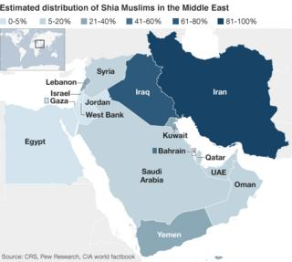 Map showing distribution of Shia Muslims in the Middle East