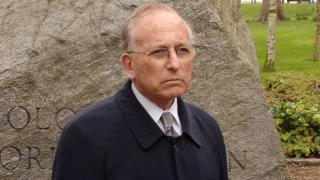 Lord Janner attends a ceremony in Hyde Park, to unveil a memorial to mark the 60th anniversary liberation of Bergen-Belsen concentration camp