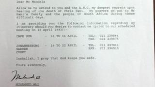 Письмо Мухаммеда Али Нельсону Манделе