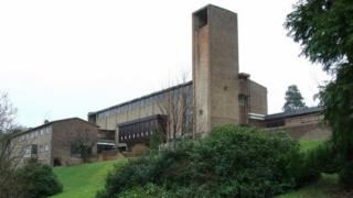 Holy family RC Church & parochial house - Imposing building on Parkhill Avenue. Designed by Gillespie, Kidd & Coia, built c.1958.