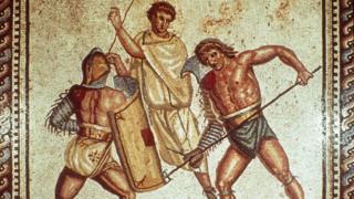 Mosaico de combate de gladiadores