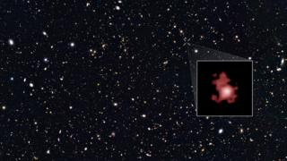The galaxy GN-z11, pulled out in the inset, is seen only 400 million years after the Big Bang