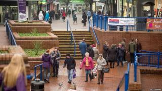 Shoppers in Stoke on Trent city centre