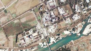 File photo: Satellite image of a five-megawatt nuclear reactor (centre left) in Yongbyon in North Korea, 7 November 2004