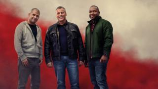 Top Gear hosts Chris Harris, Matt LeBlanc and Rory Reid