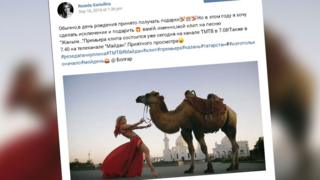 A shot of the singer's social media post showing her in the video with a camel