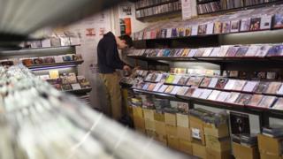 Man in a music shop