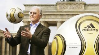 German football legend Franz Beckenbauer, head of Germany's organising committee for the 2006 World Cup, at the Brandenburg Gate in Berlin, 18 April 2006