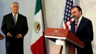 US Secretary of State Rex Tillerson (L) and Mexico's Foreign Secretary Luis Videgaray delivers a statement at the Ministry of Foreign Affairs in Mexico City
