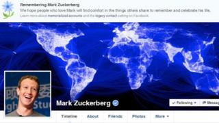 Facebook profile of Mark Zuckerberg displaying a memorial banner
