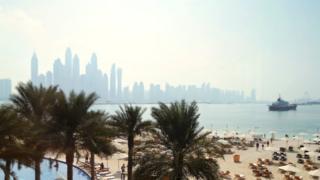 Dubai skyline, seen from the Palm Beach hotel