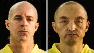 This file combination of undated photos taken from the Islamic State group's online magazine Dabiq purports to show Ole Johan Grimsgaard-Ofstad, 48, from Oslo, Norway, left, and Fan Jinghui, 50, from Beijing, China.