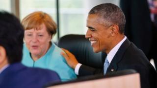 President Obama with Germany's Angela Merkel in G7 talks, May 2016