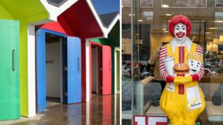 Barry's beach huts and a model of Ronald McDonald