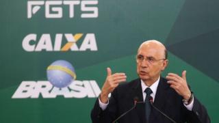 O ministro da Fazenda, Henrique Meirelles, fala na cerimônia de anúncio do calendário de saque das contas inativas do FGTS