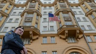 Russian guard outside US embassy in Moscow, 29 Dec