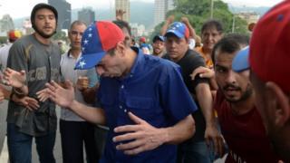 Venezuela police block opposition march