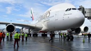 Emirates plane at Dubai International Airport (file photo - January 2017)