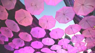 paraguas rosados