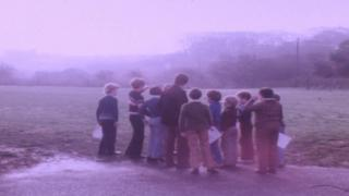 Broad Haven pupils and their headteacher