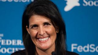 In this 18 Nov 2016 photo, Nikki Haley smiles while speaking at the Federalist Society's National Lawyers Convention in Washington
