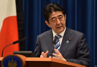 Japanese Prime Minister Shinzo Abe speaks during a press conference at Abe's official residence in Tokyo on 10 March 2015.