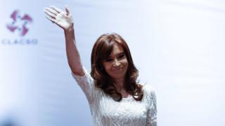 Former Argentine president Cristina Kirchner waves during the conference 'The Political Struggle in Latin America Today', in Sao Paulo, December 9, 2016.