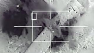 A screen grab taken from a video released by the French army shows French army Rafale fighter jets and Mirage 2000 fighter jets bombing a series of IS sites in Raqqa, Syria