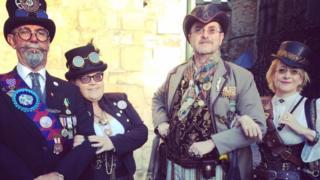 Steampunk festival goers in Castle Hill, Lincoln, 2016