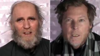 Images made from video released by the Taliban on 11 January 2017 show an American man identified as Kevin King (l) and an Australian identified as Timothy Weekes speaking on camera while in captivity.