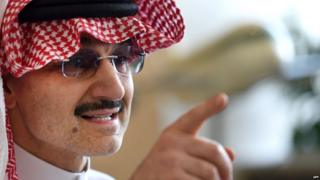 Saudi Arabian billionaire Prince Alwaleed bin Talal speaks to reporters during a press conference in the Saudi capital, Riyadh, on July 1, 2015.