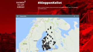 A map on the Evangelical Lutheran Church of Finland's website showing which churches are taking part