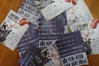 North Korea leaflets collected in South Korea with a cartoon of President Park