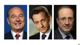 French Presidents Chirac, Sarkozy and Hollande