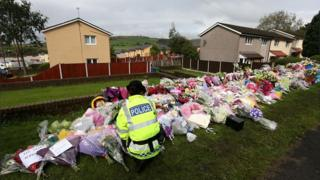 Floral tributes to Fiona Bone and Nicola Hughes
