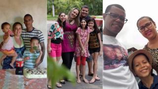 Gislaine Barboza, Viviane Lima e Adailton Gois com suas famílias