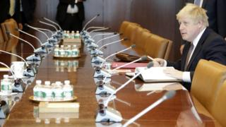 Boris Johnson before his meeting at the United Nations