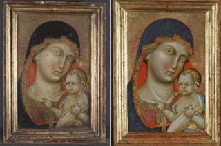 Obra 'Virgem Maria e Menino Jesus' antes e depois da restauração