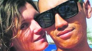 A picture showing Emlyn Culverwell and his Ukrainian fiancee, Iryna Nohai